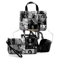 OA2667T THE OBAMAS DéCOR MAGAZINE COVER COLLAGE SEE THRU DRAWSTRING 2-IN-1 BACKPACK~BLACK