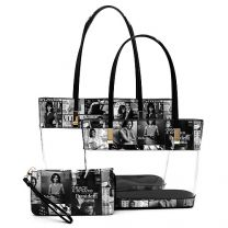 OA2669T THE OBAMAS DéCOR MAGAZINE COVER COLLAGE SEE THRU 3-IN-1 TOTE SET~BLACK