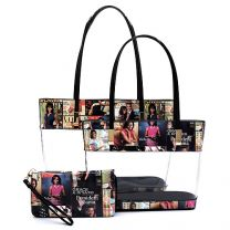 OA2669T THE OBAMAS DéCOR MAGAZINE COVER COLLAGE SEE THRU 3-IN-1 TOTE SET~MULTI