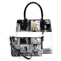 OA2687T THE OBAMAS DéCOR MAGAZINE COVER COLLAGE SEE THRU PADLOCK 2-IN-1 SATCHEL~BLACK