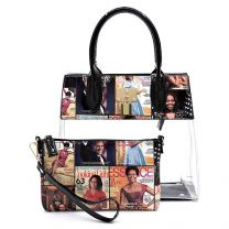 OA2687T THE OBAMAS DéCOR MAGAZINE COVER COLLAGE SEE THRU PADLOCK 2-IN-1 SATCHEL~MULTI