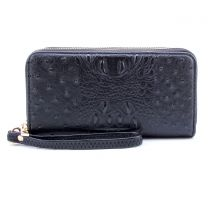 OS0012 OSTRICH n CROC DOUBLE ZIP AROUND WRISTLET WALLET BLACK