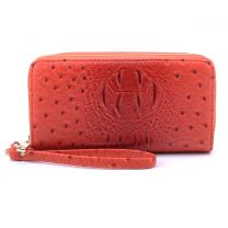 OS0012 OSTRICH n CROC DOUBLE ZIP AROUND WRISTLET WALLET BURNT ORANGE