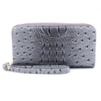 OS0012 OSTRICH n CROC DOUBLE ZIP AROUND WRISTLET WALLET BURNT DARK GREY