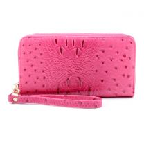 OS0012 OSTRICH n CROC DOUBLE ZIP AROUND WRISTLET WALLET BURNT MAGENTA