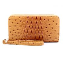 OS0012 OSTRICH n CROC DOUBLE ZIP AROUND WRISTLET WALLET BURNT MUSTARD