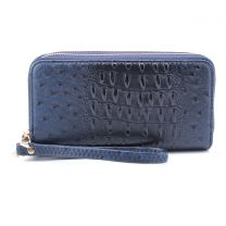 OS0012 OSTRICH n CROC DOUBLE ZIP AROUND WRISTLET WALLET BURNT NAVY
