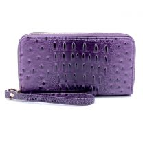 OS0012 OSTRICH n CROC DOUBLE ZIP AROUND WRISTLET WALLET BURNT PURPLE