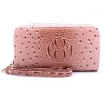 OS0012 OSTRICH n CROC DOUBLE ZIP AROUND WRISTLET WALLET BURNT ROSE PINK