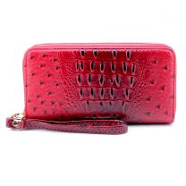 OS0012 OSTRICH n CROC DOUBLE ZIP AROUND WRISTLET WALLET BURNT RED