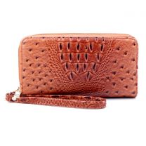 OS0012 OSTRICH n CROC DOUBLE ZIP AROUND WRISTLET WALLET BURNT TAN