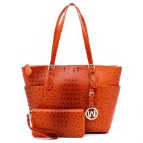 OS1009W OSTRICH EMBOSSED TOTE w/MATCHING WALLET~BURNT ORANGE