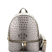 OS1082W OSTRICH and CROC 2in1 FASHION SMALL BACKPACK WALLET SET~DARK GREY