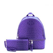 OS1082W OSTRICH and CROC 2in1 FASHION SMALL BACKPACK WALLET SET~PURPLE