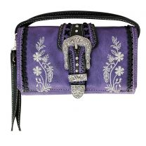P2066W112 Western Embroidery Wristlet Wallet w/Long Strap Purple