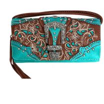 P2066W141N Western Embroidery Wristlet Wallet w/Long Strap Turquoise