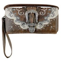 P2066W177 WESTERN BUCKLE EMBROIDERY WRISTLET WALLET w/LONG STRAP~BROWN