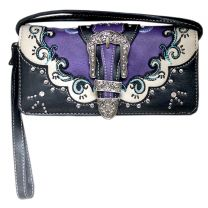 P2066W177 WESTERN BUCKLE EMBROIDERY WRISTLET WALLET w/LONG STRAP~PURPLE