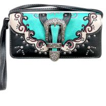 P2066W177 WESTERN BUCKLE EMBROIDERY WRISTLET WALLET w/LONG STRAP~TURQUOISE