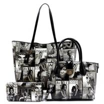 PQ008 The Obamas Décor Magazine Cover 3in1 Tote Wallet Set