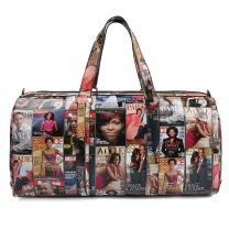 PQ017 THE OBAMAS DéCOR MAGAZINE COVER COLLAGE 20inch DUFFEL BAG~MULTI