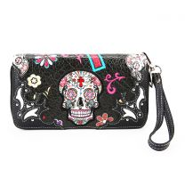 SKU4-300 OAXACAN STYLE SUGAR SKULL DOUBLE ZIPPER WRISTLET WALLET BLACK