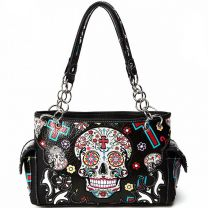 SKU4-8469 CONCEALED CARRY OAXACAN STYLE SUGAR SKULL SATCHEL BLACK