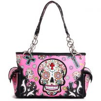 SKU4-8469 CONCEALED CARRY OAXACAN STYLE SUGAR SKULL SATCHEL PINK
