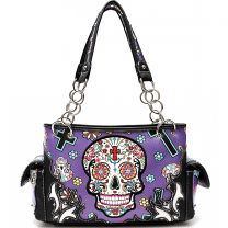 SKU4-8469 CONCEALED CARRY OAXACAN STYLE SUGAR SKULL SATCHEL PURPLE