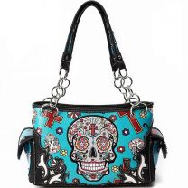 SKU4-8469 CONCEALED CARRY OAXACAN STYLE SUGAR SKULL SATCHEL TEAL