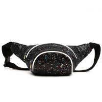 STAR200 GLITTER METALLIC FANNY PACK WAIST BAG BLACK/WHITE