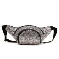 STAR200 GLITTER METALLIC FANNY PACK WAIST BAG PEWTER