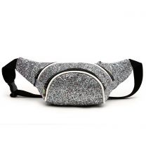 STAR200 GLITTER METALLIC FANNY PACK WAIST BAG SILVER