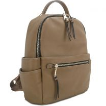 T2363 FASHION MONOGRAMMABLE SIDE POCKET BACKPACK~STONE
