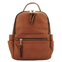 T2363 FASHION MONOGRAMMABLE SIDE POCKET BACKPACK~TAN