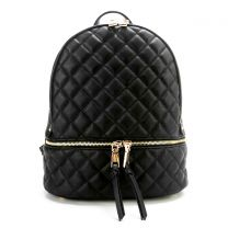 T2572 FASHION QUILTED MONOGRAMMABLE BACKPACK~BLACK