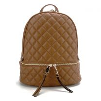 T2572 FASHION QUILTED MONOGRAMMABLE BACKPACK~BROWN
