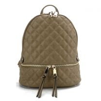 T2572 FASHION QUILTED MONOGRAMMABLE BACKPACK~STONE
