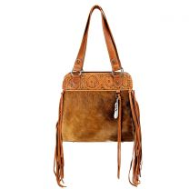 TR100G-8317 TRINITY RANCH HAIR-ON LEATHER COLLECTION CONCEALED HANDGUN TOTE BAG~BROWN