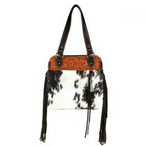 TR100G-8317 TRINITY RANCH HAIR-ON LEATHER COLLECTION CONCEALED HANDGUN TOTE BAG~COFFEE