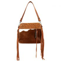 TR100G-918 TRINITY RANCH HAIR-ON LEATHER COLLECTION CONCEALED HANDGUN HOBO BAG~BROWN