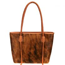 TR101P-8317 TRINITY RANCH HAIR-ON COLLECTION TOTE~BROWN