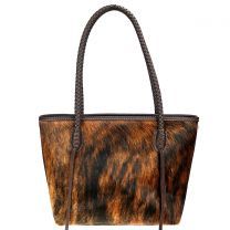 TR101P-8317 TRINITY RANCH HAIR-ON COLLECTION TOTE~COFFEE