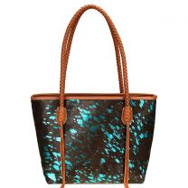 TR101P-8317 TRINITY RANCH HAIR-ON COLLECTION TOTE~TURQUOISE