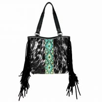 TR97G-8317 TRINITY RANCH HAIR-ON COWHIDE COLLECTION CONCEALED CARRY TOTE BLACK