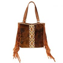 TR97G-8317 TRINITY RANCH HAIR-ON COWHIDE COLLECTION CONCEALED CARRY TOTE BROWN