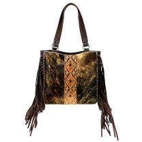 TR97G-8317 TRINITY RANCH HAIR-ON COWHIDE COLLECTION CONCEALED CARRY TOTE COFFEE
