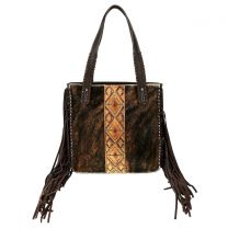 TR97G-8388 TRINITY RANCH HAIR-ON COWHIDE COLLECTION CONCEALED CARRY TOTE COFFEE