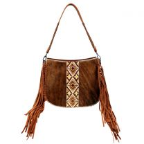 TR97G-918 TRINITY RANCH HAIR-ON COWHIDE COLLECTION CONCEALED CARRY HOBO BROWN