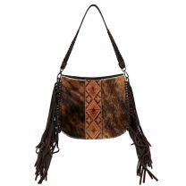 TR97G-918 TRINITY RANCH HAIR-ON COWHIDE COLLECTION CONCEALED CARRY HOBO COFFEE